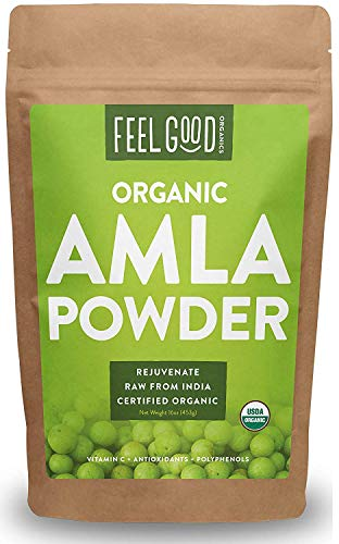 Organic Amla Powder (Amalaki) - 16oz Resealable Bag (1lb) - 100% Raw From India - by Feel Good Organics