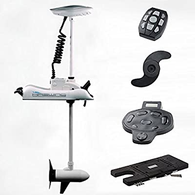 "Haswing Cayman 24v 80lbs Bow Mount Electric Trolling Motor White 60"" Shaft with foot control&Quick Release Brakcet"