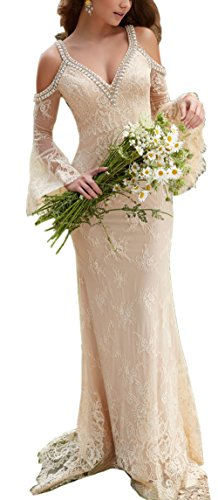 Sayadress Women's Boho Beaded Lace Long Beach Wedding Dress Crystals Straps with Trumpet Sleeves Champagne US12 by Sayadress