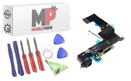 MobilePrime Black Charging Port Replacement Kit Compatible for iPhone 5S Including Repair Tools - 821-1596-A 821-1667 (Iphone 5s Charging Dock Certified)