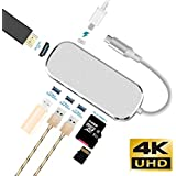 USB C Hub, Nobebird 7-in-1 USB Type C Hub with Type C Charging Port/HDMI 4K Adapter/3 USB 3.0 Ports/SD & TF Card Reader for MacBook Pro 2018/2017/2016, ChromeBook and More USB C Devices