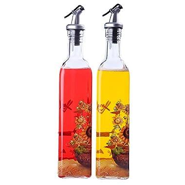 Olive Oil and Vinegar Dispenser - Oil and Vinegar Bottles Autumn Day Scarecrow Design- 2 Pack 16 Oz Cruets