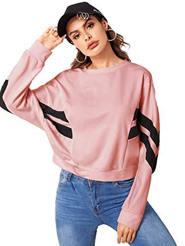 (Romwe Women's Color Block Cut and Sew Dolman Long Sleeve Crop Sweatshirt Pink XS )