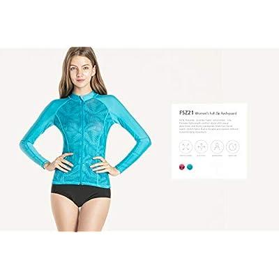TSLA Women's UPF 50+ Zip Swim Front Long Sleeve Top Rashguard: Clothing