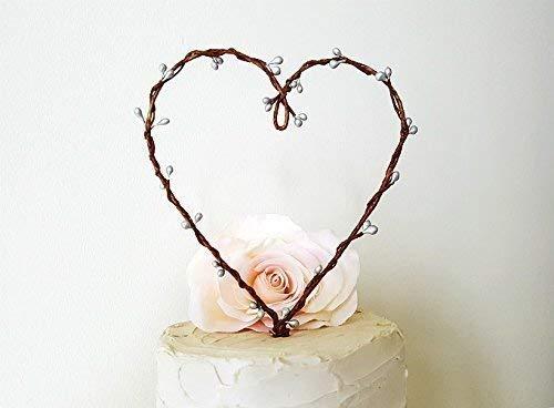 Berry Heart Wreath - Rustic Silver Pip Berry Heart Wreath Cake Topper