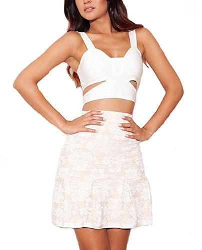 Alice & Elmer Women's Rayon white & beige lace cutout 3piece set bandage dress