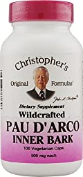 Christopher\'s Pau D\'Arco -- 500 mg - 100 Vegetarian Capsules - 2pc
