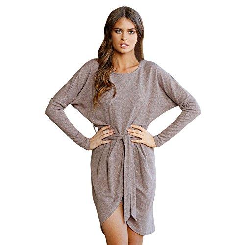 Hot Sale!! ZOMUSA Ladies Long Sleeve Loose Casual Mini Belted Dress (XXL, Khaki) ()
