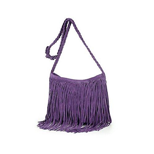 Buddy Women Hippie Fringe Tassel Suede Hobo Shoulder Bag Vintage Messenger Crossbody Handbag Purple