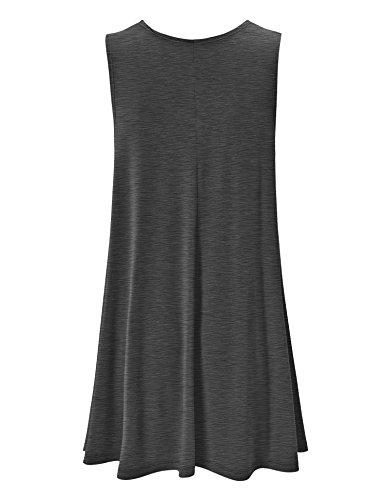 Se Réunissent En Californie Ctc Femmes Rondes Robe Trapèze Sans Manches Cou - Made In Usa Wdr929_heather_charcoal