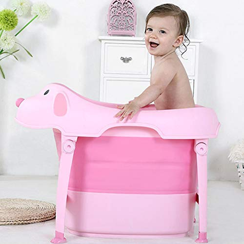 Children Safe Portable Foldable Bathtub, 29x21inch - Baby Bath Tub Kids Bath Tub Can Sit Lying Bath Tub for 6 Months to 10 Years Old Children (Pink) by Finebaby (Image #1)