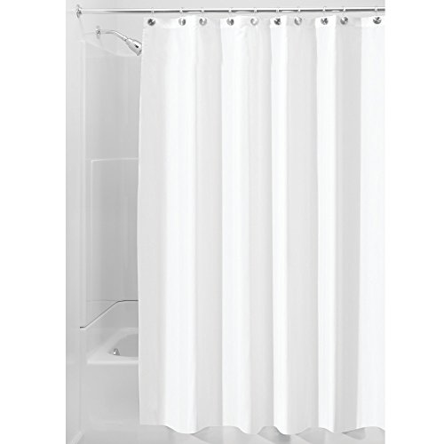 InterDesign Water Proof Mold and Mildew-Resistant Fabric Shower Stall Curtain, 54-Inch by 78-Inch, White (Shower Stall Fabric Curtain Liner)
