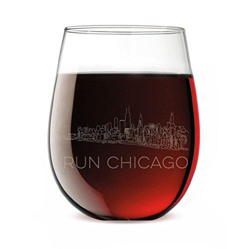 Running Stemless Wine Glass - Chicago Sketch (Chicago Wine Glass)