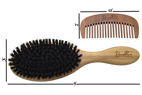 Boar Bristle Hair Brush Set for Women and Men - Designed for Thin and Normal Hair - Adds Shine and Improves Hair Texture - Wood Comb and Gift Bag Included (black) by Dovahlia (Image #5)