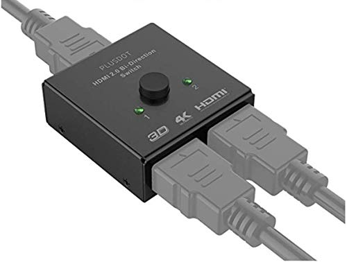 PlusDot 2-in-1 HDMI AB Switch BiDirectional Switcher, HDMI 2.0, 10.2GBPS Transmission, Supports 4K/3D/1080/HDCP Passthrough, Maximum Device Compatibility