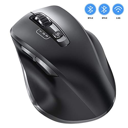 Bluetooth Mouse, Vogek Wireless Mouse Support 3 Devices (Dual Bluetooth & USB) with 3 Levels Adjustable DPI Ergonomic…