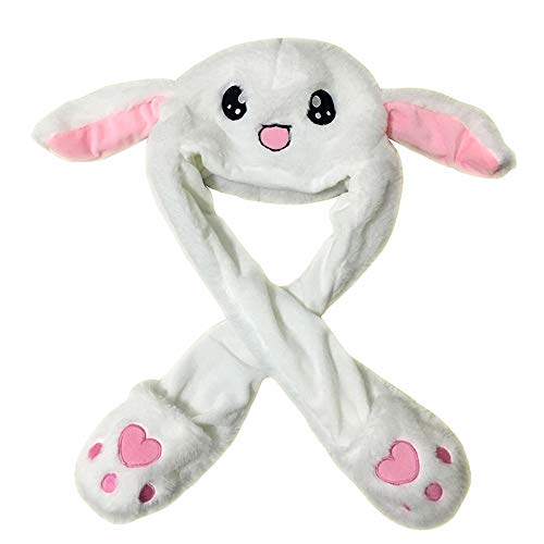 (GRACEON Cute Rabbit Hat Ear Will Move When You Hold The Leg Funny Plush Hats)