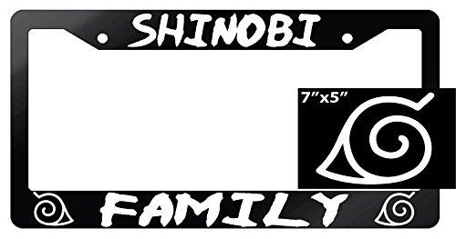 Naruto Shinobi Family Glossy Black Plastic License Plate Frame With Vinyl -