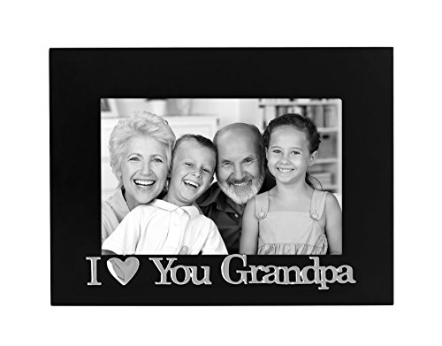Americanflat 4x6 I Love You Grandpa Picture Frame, Glass Front - Color: Black - Fits Photos 4x6 - Easel Back for Tabletop Display