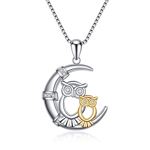 LUHE Owl Necklace Sterling Silver Gold Plated Owls on Cresent Moon Bird Lover Gifts for Women