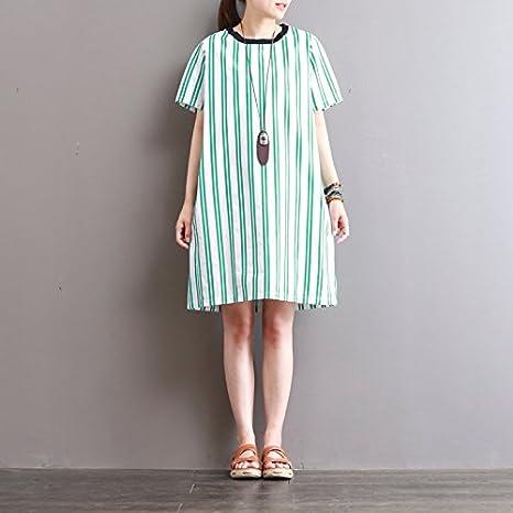 XiaoGao El Nuevo Vestido de algodón de Rayas de Colores en el ...