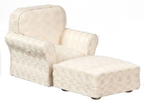 ドールハウスミニチュア1 : 12スケールModern Chair with Ottoman B07B6VXMZ8