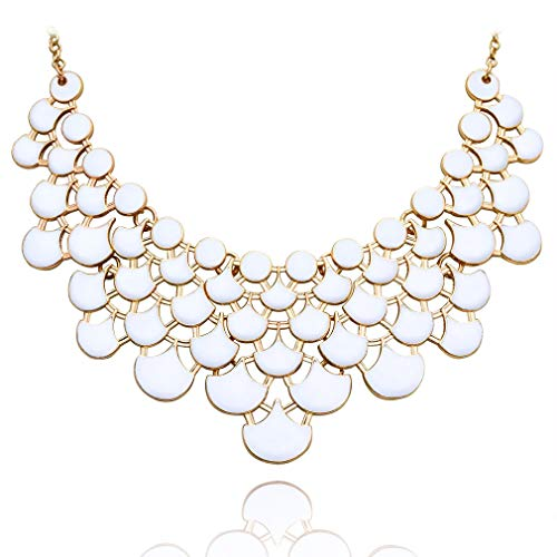 JANE STONE 2019 Fashion Bib Collar Necklace Multicolor Enamel Gold Statement Jewelry for Women(Fn0968-Porcelain White)
