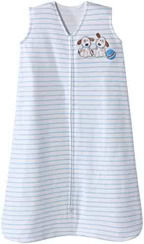 Halo Sleepsack Cotton Wearable Blanket, Blue Stripe Puppy, Large