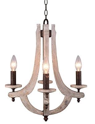 Docheer Retro Iron Wooden Chandelier 4 Candle Holder Lights Vintage Wood Metal Chandelier Rustic Iron Pendant Chandelier Lamp Hanging Chandelier Home Decor Lighting, Antique Ashen Color