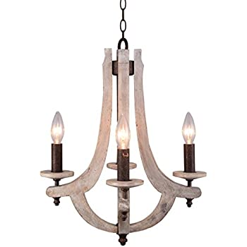 Amazon.com: A&B Home Wood and Metal Chandelier, 22.5 X 32 ...