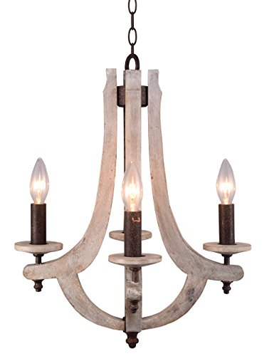 Docheer Retro Iron Wooden Chandelier 4 Candle Holder Lights Vintage Wood Metal Chandelier Rustic Iron Pendant Chandelier Lamp Hanging Chandelier Home Decor Lighting, Antique Ashen Color by Docheer