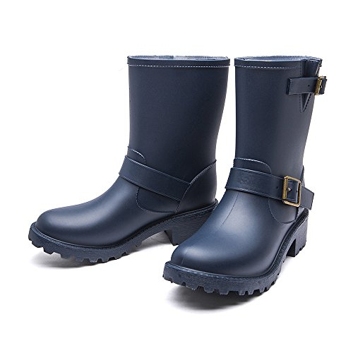 Adjust Elastic 6 Rain Womens Boots Girls Colors for Blue Boots Waterproof Motorcycle with DKSUKO wgapZWqw