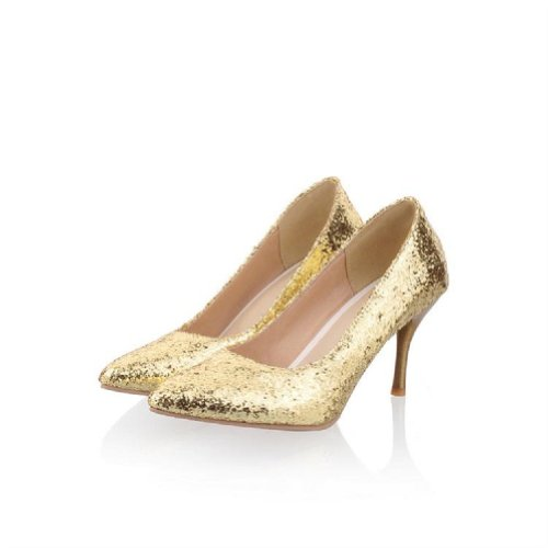 Carol Chaussures Mode Paillettes Femmes Talons Hauts Pompes Pointues Chaussures Or