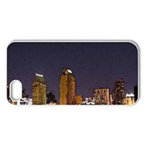 City Night - Case Cover for iPhone 5 and 5S (Skyscrapers Series, Watercolor style, White)