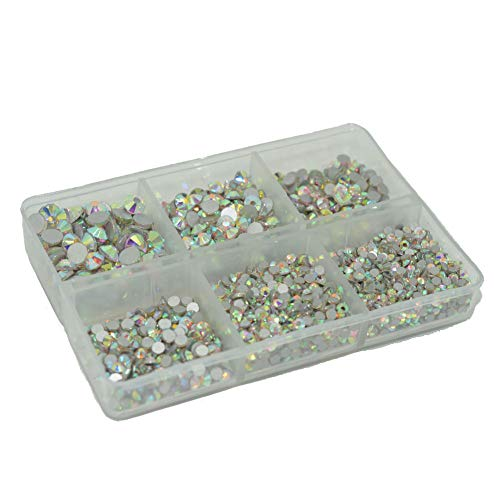 Queenme Upgrade 4200 Pieces Nail Crystals Flatback Nail Art Rhinestones AB Round Glass Gems Charms Stones Mix 6 Sizes, for Nails Decoration Makeup Clothes Shoes SS6 8 10 12 16 20