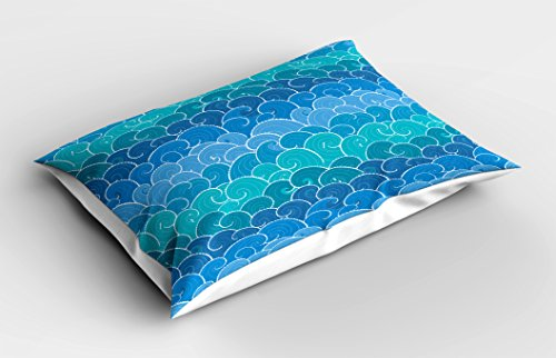 Lunarable Nautical Pillow Sham, Doodle Style Waves with Curvy Lines Ocean Storm Abstract Seascape, Decorative Standard King Size Printed Pillowcase, 36 X 20 inches, Blue Teal and Turquoise by Lunarable (Image #1)
