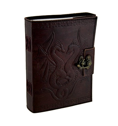 Embossed Leather Dual Dragons 120 Leaf Journal ()