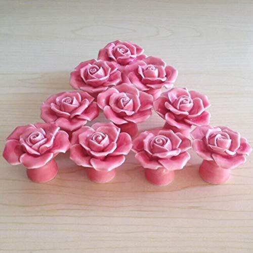 (SunKni 41mm 10 Pack Ceramic Knobs, Rose Flower Floral Knobs Handles Pulls for Cabinet Dresser Drawer Kitchen Cupboard Closet Wardrobe Furniture Door (Pink))