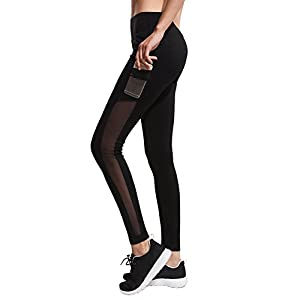 IMIDO Women's Yoga Capri Pants Sport Tights Workout Running Mesh Leggings with Side Pocket