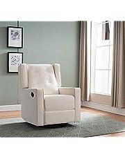 Swivel Glider Rocker Recliner Fabric Chair by Marabell in Soft Microfiber - Cream