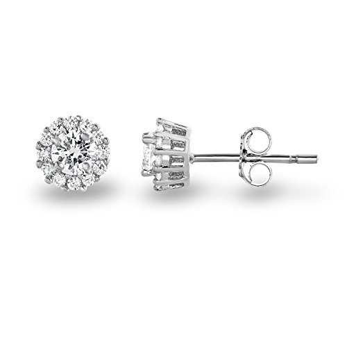 Spoil Cupid Rhodium Plated 925 Sterling Silver Cubic Zirconia Classic Halo Stud Earrings, (Center Stone: 4.5mm)