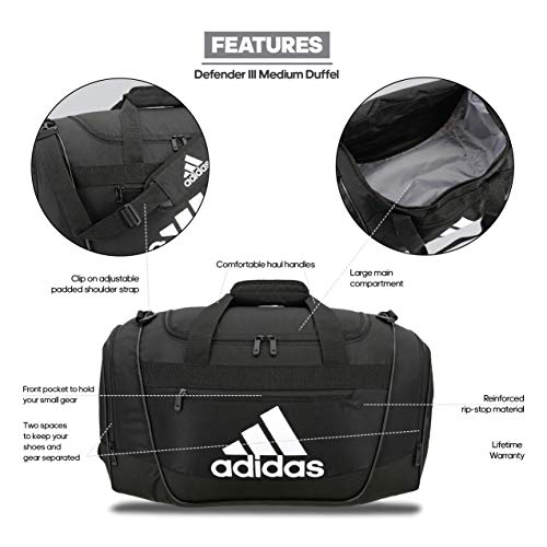 adidas Women's Defender III small duffel Bag, Black/White, One Size
