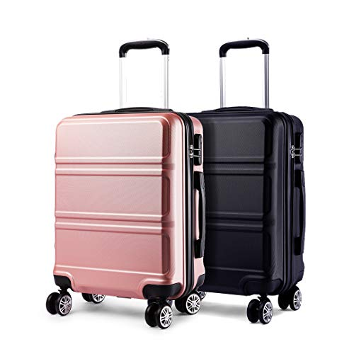 Kono Luggage Set 2 Pieces Light Weight Hard Shell ABS Suitcase 4 Wheel Hand Luggage Cabin Travel Case (Nude+Black)