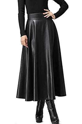 ELESOL Women's Pleated High Waist Faux Leather Skirts Swing A-Line Maxi Skirt