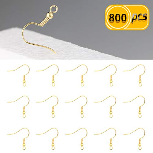 Newbested 800 PCS Fish Hook Earrings Ball Coil Earring Hooks Fish Hook Hoops Fish Hook Ear Wire -