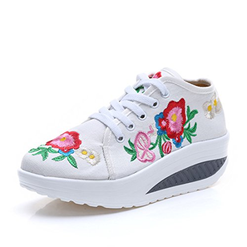 Toile Sneakers Chaussures Skylar Wedge Plate Fanwer Brodée Walking Forme Tone Fd6qFp