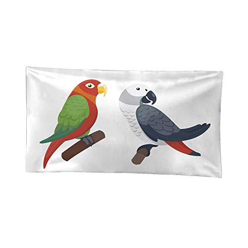 r Bedroom Cartoon Tropical Parrot Wild Animal Bird Vector Illustration Wildlife Feather Zoo Color Nature Vivid Urban Outfitters Tapestries 84W x 70L Inch ()