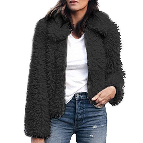 Faux Shearling Bomber Jacket,Womens Notch Collar Coat Winter Parka Outerwear by-NEWONESUN