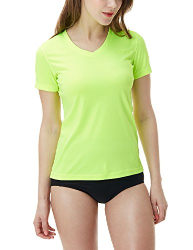 TSLA Women's UPF 50+Vneck Swimshirt Loose-Fit Short Sleeve Rashguard, Loose Fit V Neck(fss02) - Lime, Small
