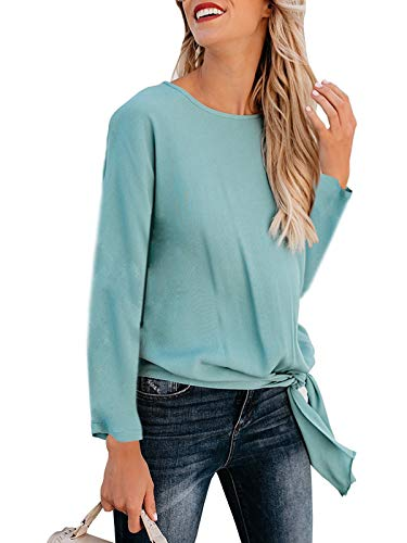 kigod Women's Casual Crew Neck Front tie Knot T Shirts Solid Loose Fit Long Sleeve Tee Top T-Shirt Blouses (Blue, Large)